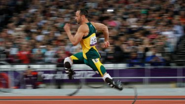 Silver medal ... Oscar Pistorius competes in the men's 200m final.