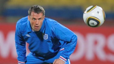 Balls up ... Jamie Carragher says Germany had an advantage over the Socceroos because of the time they have had to practise with the controversial Jabulani ball.