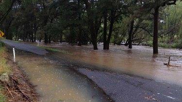 Water rising ... Tarana Road, near Bathurst.