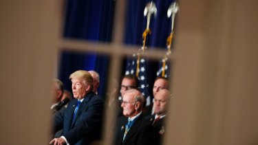 Trump speaks during a campaign event at Trump International Hotel in Washington.