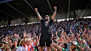 Fan favourite: Issac Luke with the fans at the South Sydney grand final celebration.