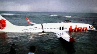 Lucky escape: The wreckage of the Lion Air Boeing.
