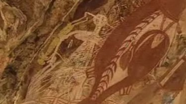 Rare viewing ... some of the recently discovered rock art in the NT.