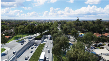 An artist's impression of the eastern portal at the Parramatta Road interchange, looking west towards the western ventilation stack in the middle distance.