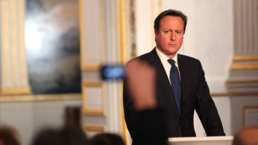 Heading back to London: British Prime Minister David Cameron.