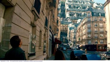 Tell 'em they're dreaming ... Leonardo DiCaprio navigates Christopher Nolan's inverted reality in which the streets of Paris buckle and morph until they form a confusing canopy.