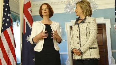 Ms Gillard and Hillary Clinton, pictured in Washington together in 2011, shared experiences of the relentless scrutiny endured by both women.