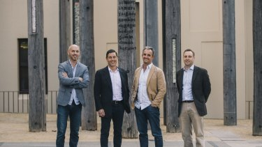 Westpac Reinventure co-founder Danny Gilligan, Todd Forest, NAB Ventures, managing director, Paul McCarney, co-founder and chief executive, Data Republic and  Vaughan Chandler, executive manager, Qantas Loyalty