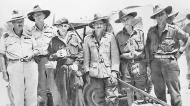 Rescued … three of the Australian Sandakan death march survivors (from second left) Private Nelson Short, Warrant Officer William H. Sticpewich and Private Keith Botterill, with RAAF Auster pilots.