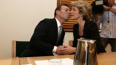 Prime Minister-elect Tony Abbott and Liberal deputy leader Julie Bishop at the Coalition joint party meeting. Ms Bishop could be the only woman in the Abbott Government ministry.