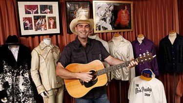 Former Yellow Wiggle Greg Page with his Elvis memorabilia collection that is on loan to the Elvis Festival in Parkes.