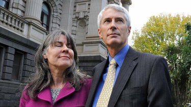 Chrissie and Anthony Foster outside the inquiry.