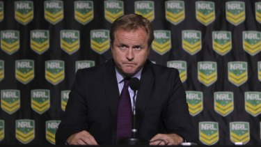 NRL CEO Dave Smith announces the sanctions against the Cronulla Sharks.