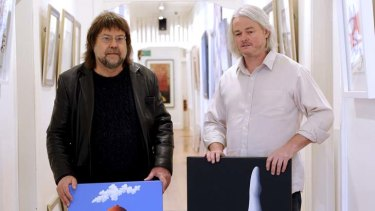 Back again … James Willebrant and Katoomba Fine Art Gallery director Geoff White with the two stolen paintings.