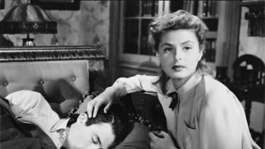 Ingrid Bergman and Gregory Peck in a scene from Alfred Hitchcock's psychological thriller, <i>Spellbound</i>.