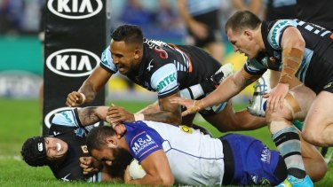 Try-time: Sam Kasiano forms part of the Bulldogs' giant forward pack.
