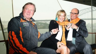 Drumming up support: GWS coach Kevin Sheedy with breakfast television hosts Melissa Doyle and David Koch on Wednesday.