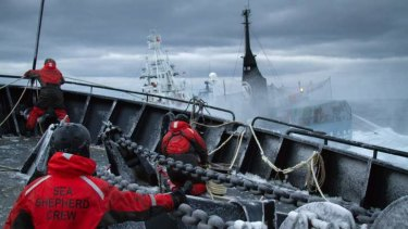 A confrontation between Japanese whalers and Sea Shepherd activists.