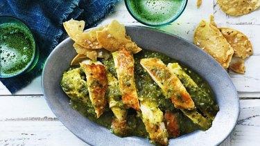 Roast chicken in green salsa.