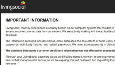 Part of the warning message LivingSocial sent to subscribers.