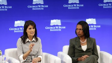 US Ambassador to the United Nations Nikki Haley, left, and former US Secretary of State Condoleeza Rice at the George W. Institute.