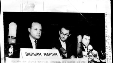 Bernon Mitchell (left) and William Martin (right) announce their defection to the Soviet Union, an event possibly foreshadowed in the Canberra cables.
