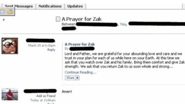 "Hackers defaced a Facebook page that was asking people to pray for a sick relative by posting the message ""If he dies can I have some of his stuff?""."