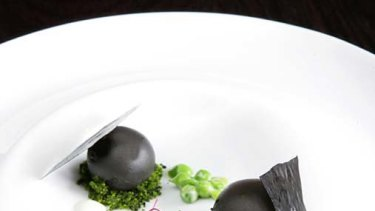 Bentley's black sesame and pea fondant with snowpeas and goats cheese.