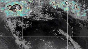This satellite image shows Cyclone Narelle forming off the north-west coast of WA. <b>Map from:</b> Higgins Storm Chasing Facebook page.