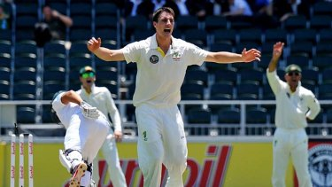 Debutant Pat Cummins appeals for an lbw against South African opener Jacques Rudolph.