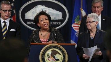 Attorney General Loretta Lynch announces the VW resolutions.