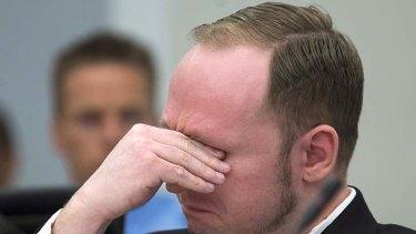 Cried in court ... Anders Behring Breivik.