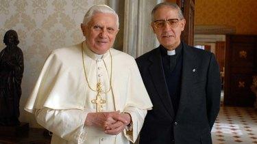 The Black Pope ....  Father Adolfo Nicolas, pictured with Pope Benedict XVI.