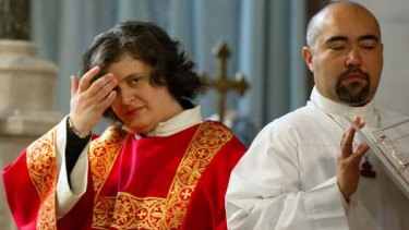 Maria Vittoria Longhitano during the mass for her ordination.