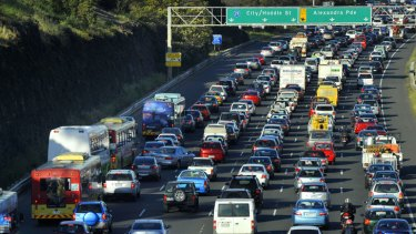 Traffic is congested on the Eastern Freeway.