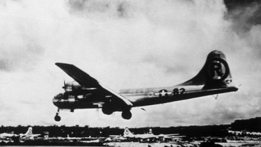 A B-29 Superfortress that had taken off from the Pacific island of Guam was rammed by a Japanese fighter on May 5, 1945.