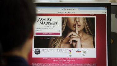 Ashley Madison's Korean website on a computer screen in Seoul, South Korea.
