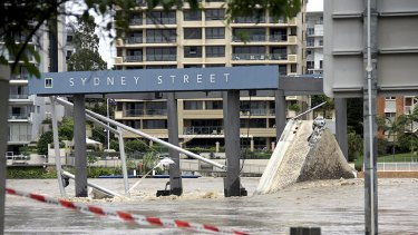 The Sydney Street ferry terminal lies in ruins during the January floods.