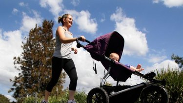Peita Mages with her 9 month old daughter, Lola, going for a run at her local park in Hurstville with the pram to combine motherhood with regular excercise.