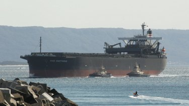 The coal carrier Sage Sagittarius being diverted to Port Kembla in September, 2012.