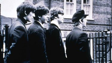 The Beatles in the 1964 rock film, A Hard Day's Night.