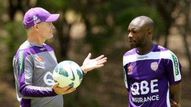Shown the door: Alistair Edwards, pictured with marquee signing William Gallas, has been sacked by Perth Glory.
