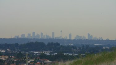 Smog blankets Sydney, as seen from the outer west of the city.