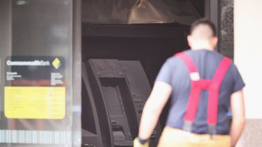 A view of the fire-damaged ATM in the Springvale bank.