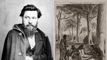 Admired and reviled ... William Blandowski's self-portrait, left, and a plate from his illustrated encyclopaedia of Aboriginal life.