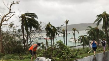 The clean-up begins on Hamilton Island after Cyclone Debbie.
