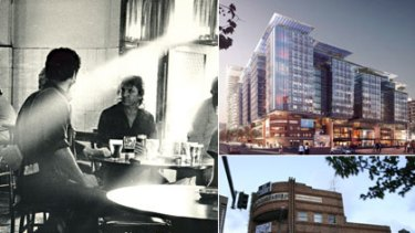 Left: Stirred up memories  ...  a historic shot of drinkers in the pub in 1987. Top: Big and shiny ... an artist's impression of the development. Bottom: Young revellers ... the hotel must close by January 22.
