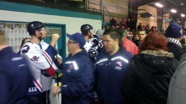Ice star Matt Armstrong stews over a penalty whilst waiting for the dressing room to be opened.