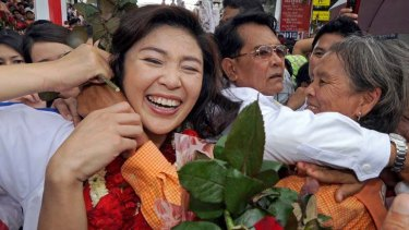 Popular appeal ... Yingluck Shinawatra campaigns in Bangkok in the run-up to tomorrow's general election.