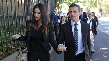 Simon Gittany with his girlfriend leaving the Supreme Court in Darlinghurst.